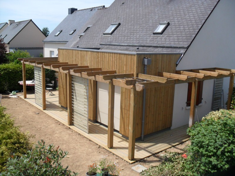 Extension sur l vation ossature bois rennes ille et vilaine menuiserie r no - Surelevation ossature bois prix ...