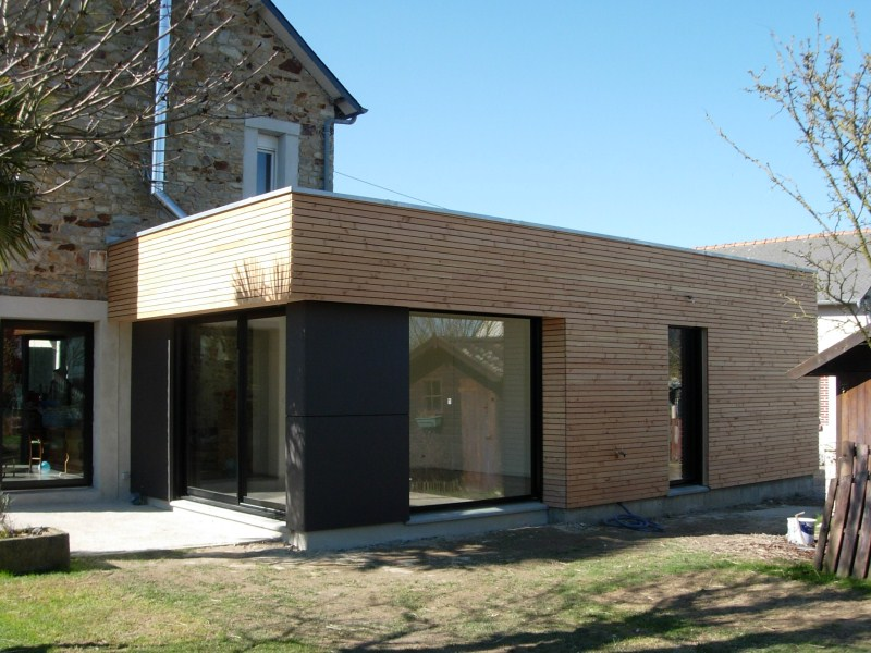 Extension agrandissement ossature bois rennes ille et for Extension maison 25m2