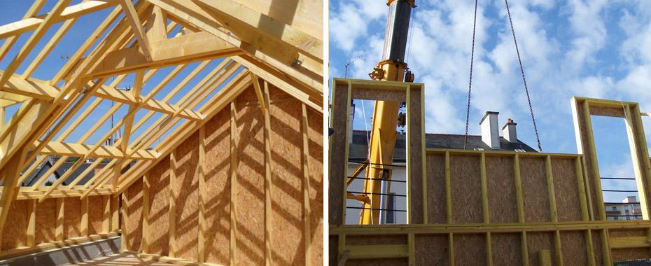 Extension sur l vation ossature bois rennes ille et for Surelevation bois